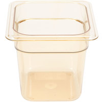 Carlisle 3088513 StorPlus 1/6 Size Amber High Heat Food Pan - 6 inch Deep