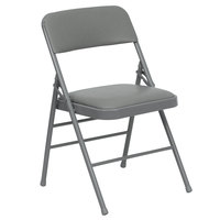 Gray Metal Folding Chair with 1 inch Padded Vinyl Seat