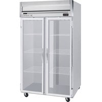 Beverage Air HRP2-1G-LED 2 Section Glass Door Reach-In Refrigerator with LED Lighting - 49 cu. ft., SS Exterior