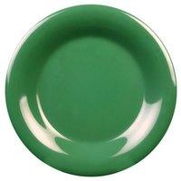 6 1/2 inch Green Wide Rim Melamine Plate - 12/Pack