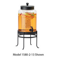 Cal Mil 1580-3-13 3 Gallon Black Soho Glass Beverage Dispenser with Ice Chamber - 10 inch x 12 inch x 24 1/2 inch