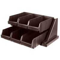 Cambro 6RS6131 Dark Brown Versa Self Serve Condiment Bin Stand Set with 2-Tier Stand and 12 inch Condiment Bins