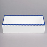 Tablecraft M13765BL 1/3 Size 3 inch Deep White Straight Sided Melamine Gastronorm Pan with Blue Trim