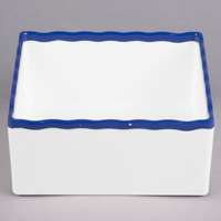 Tablecraft M16765BL 1/6 Size 3 inch Deep White Straight Sided Melamine Gastronorm Pan with Blue Trim