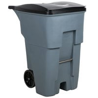 Rubbermaid FG9W2200GRAY Brute 95 Gallon Gray Standard Rollout Container with Lid