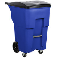 Rubbermaid 1971996 Brute 95 Gallon Blue Standard Rollout Container with Lid and Casters
