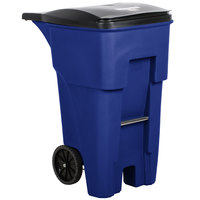 Rubbermaid FG9W2173BLUE Brute 65 Gallon Blue Standard Rollout Container with Lid