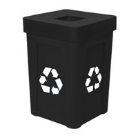 Black Stacking Flat Lid Recycle Bin - 48 Gallon