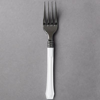 WNA Comet RFDFK480W Reflections Duet 7 inch Stainless Steel Look Heavy Weight Plastic Fork with White Handle - 20/Pack