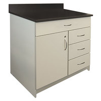 Alera Plus AAPBR103GY 36 inch x 25 inch x 40 inch Gray Hospitality Base Cabinet with One Door and Four Drawers