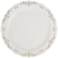 Fineline 5910-BOG Heritage 10 inch Round Bone / Ivory Plastic Plate with Gold Trim - 10/Pack