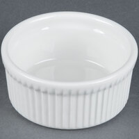 Tuxton BPX-1002 DuraTux 10 oz. Bright White Fluted China Souffle / Ramekin - 12/Case