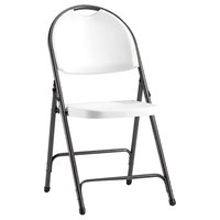 Alera ALEFR9402 Black Anthracite Folding Chair with White Molded Resin Back and Seat - 4/Case