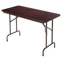 Alera ALEFT726030WA 29 3/4 inch x 60 inch Walnut Melamine Top Folding Table