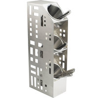 Cal-Mil 1605-55 Squared Stainless Steel Three Tier Cylinder Display - 5 inch x 8 inch x 20 1/2 inch