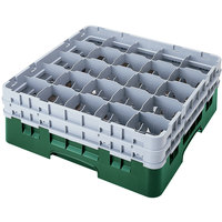 Cambro 25S318119 Camrack 3 5/8 inch High Sherwood Green 25 Compartment Glass Rack