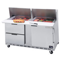 Beverage-Air SPED60-18M-2 60 inch Mega Top Refrigerated Salad / Sandwich Prep Table with One Door and Two Drawers