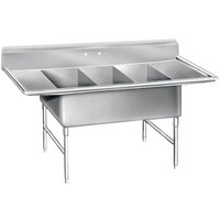 Advance Tabco K7-3-1432-18RL 16 Gauge Three Compartment Stainless Steel Super Size Sink with Two Drainboards - 78 inch
