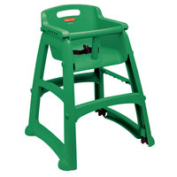 Rubbermaid FG780608DGRN Green Restaurant High Chair without Wheels - Assembled