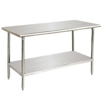 Advance Tabco Premium Series SS-485 48 inch x 60 inch 14 Gauge Stainless Steel Commercial Work Table with Undershelf