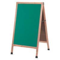 Aarco 42 inch x 24 inch Oak A-Frame Sign Board with Green Write-On Chalk Board