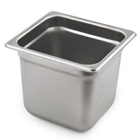 1/6 Size Standard Weight Anti-Jam Stainless Steel Steam Table / Hotel Pan - 6 inch Deep