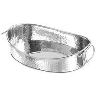 American Metalcraft HAMOV14 135 oz. Oval Stainless Steel Hammered Tub with Handles