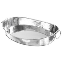 American Metalcraft HAMOV19 215 oz. Oval Stainless Steel Hammered Tub with Handles