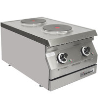 Garland ED-15THSE Designer Series 15 inch Two Solid Burner Electric Countertop Hot Plate - 240V, 1 Phase, 4 kW