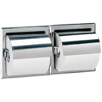 Bobrick B-699 Recessed Double Toilet Tissue Dispenser with Stainless Steel Hood and Bright Polish Finish
