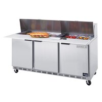 Beverage-Air SPE72-18C 72 inch Three Door Refrigerated Salad / Sandwich Prep Table with Cutting Top