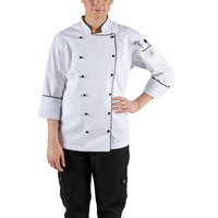 Chef Revival LJ044-XL Chef-Tex Size 16 (XL) Customizable Poly-Cotton Ladies Brigade Jacket with Black Piping
