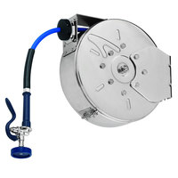 T&S B-7142-C01 50' Enclosed Stainless Steel Hose Reel with Blue Spray Valve