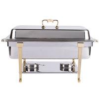 Vollrath 46050 9 qt. Classic Brass Trim Chafer Full Size