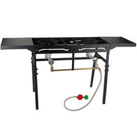 Backyard Pro Double Burner Outdoor Patio Stove / Range with Side Shelves