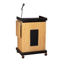 Oklahoma Sound SCL-SOK Smart Cart Lectern with Sound - Light Oak Finish