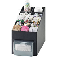 Cal-Mil 2042 Classic Black Cup / Lid / Condiment Organizer with Napkin Dispenser Slot - 10 inch x 17 1/4 inch x 14 3/4 inch