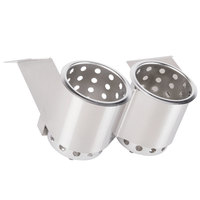 Steril-Sil UB-2S Two Hole Stainless Steel Flatware Cylinder Holder - Under Bar