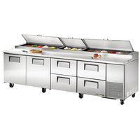True TPP-119D-4 119 inch Refrigerated Pizza Prep Table with Two Doors and Four Drawers