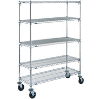 Metro 5A436BC Super Adjustable Chrome 5 Tier Mobile Shelving Unit with Rubber Casters - 21 inch x 36 inch x 69 inch