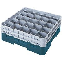 Cambro 25S1058414 Camrack 11 inch High Teal 25 Compartment Glass Rack