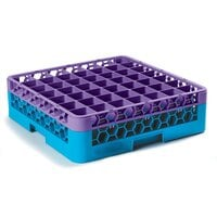 Carlisle RG49-1C414 OptiClean 49 Compartment Glass Rack with 1 Color-Coded Extender - Lavender / Carlisle Blue