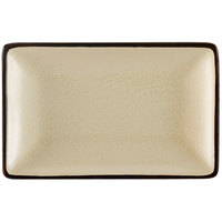 CAC 666-33-W Japanese Style 5 inch x 3 1/2 inch Rectangular China Plate - Black Non-Glare Glaze / Creamy White - 36/Case
