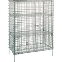 Metro SEC63S Stainless Steel Stationary Wire Security Cabinet 38 1/2 inch x 33 1/2 inch x 66 13/16 inch
