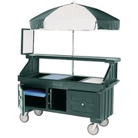 Cambro Camcruiser CVC72519 Green Vending Cart with Umbrella and 3 Counter Wells