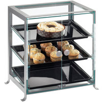 Cal-Mil 1575-S-74 Soho Three Tier Silver Display Case with Front Doors - 21 1/4 inch x 15 3/4 inch x 20 3/4 inch