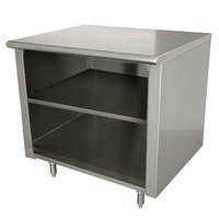 Advance Tabco EB-SS-303M 30 inch x 36 inch 14 Gauge Open Front Cabinet Base Work Table with Fixed Mid Shelf
