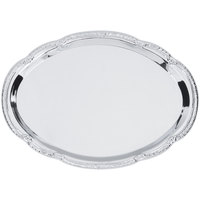 15 inch x 10 1/2 inch Oval Embossed Chrome Plated Metal Catering Tray