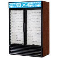 True GDIM-49NT-LD Cherry Tankless Two Section Glass Door Ice Merchandiser - 49 cu. ft.