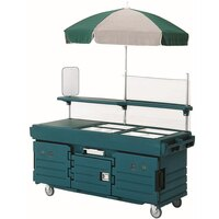 Cambro CamKiosk KVC854U192 Granite Green Vending Cart with 4 Pan Wells and Umbrella